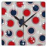 Bright Bold Big Red Blue Polka Dots Pattern Square Wallclocks