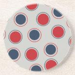 Bright Bold Big Red Blue Polka Dots Pattern Coasters