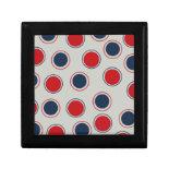 Bright Bold Big Red Blue Polka Dots Pattern Keepsake Boxes