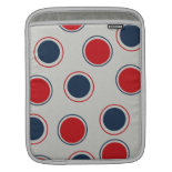 Bright Bold Big Red Blue Polka Dots Pattern Sleeves For iPads