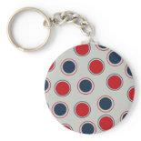 Bright Bold Big Red Blue Polka Dots Pattern Keychain