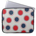 Bright Bold Big Red Blue Polka Dots Pattern Computer Sleeve