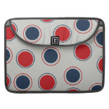 Bright Bold Big Red Blue Polka Dots Pattern Sleeve For MacBooks