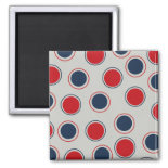 Bright Bold Big Red Blue Polka Dots Pattern Refrigerator Magnets