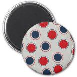 Bright Bold Big Red Blue Polka Dots Pattern Magnet