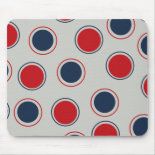 Bright Bold Big Red Blue Polka Dots Pattern Mouse Pads