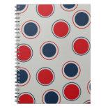 Bright Bold Big Red Blue Polka Dots Pattern Journals