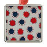 Bright Bold Big Red Blue Polka Dots Pattern Christmas Tree Ornaments