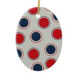 Bright Bold Big Red Blue Polka Dots Pattern Christmas Tree Ornament