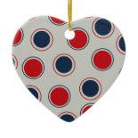 Bright Bold Big Red Blue Polka Dots Pattern Ornaments