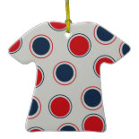 Bright Bold Big Red Blue Polka Dots Pattern Christmas Ornaments