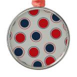 Bright Bold Big Red Blue Polka Dots Pattern Christmas Ornament