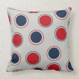 Bright Bold Big Red Blue Polka Dots Pattern Throw Pillow