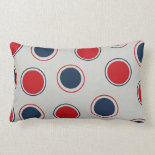 Bright Bold Big Red Blue Polka Dots Pattern Throw Pillows