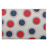 Bright Bold Big Red Blue Polka Dots Pattern Place Mat