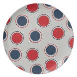 Bright Bold Big Red Blue Polka Dots Pattern Plates