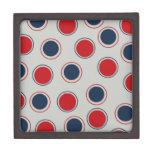 Bright Bold Big Red Blue Polka Dots Pattern Premium Keepsake Boxes