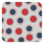 Bright Bold Big Red Blue Polka Dots Pattern Square Sticker