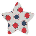 Bright Bold Big Red Blue Polka Dots Pattern Star Stickers