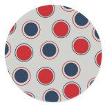 Bright Bold Big Red Blue Polka Dots Pattern Round Sticker