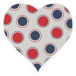 Bright Bold Big Red Blue Polka Dots Pattern Heart Sticker