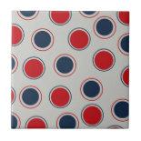 Bright Bold Big Red Blue Polka Dots Pattern Ceramic Tiles