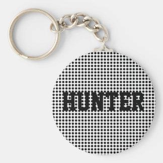 Bright Bold Black and White Polka Dots Pattern Basic Round Button Keychain