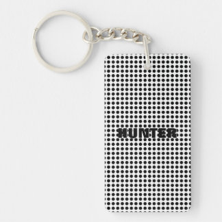 Bright Bold Black and White Polka Dots Pattern Keychain