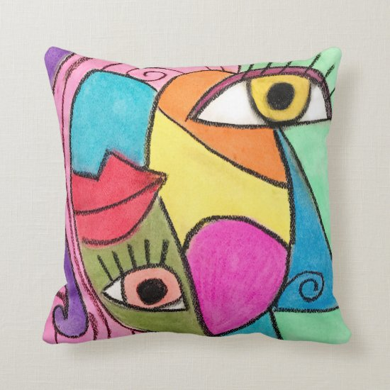 Bright Bold Color Block Abstract Eyes Lips Cubism Throw Pillow