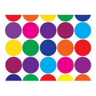 Bright Bold Colorful Rainbow Circles Polka Dots Postcard