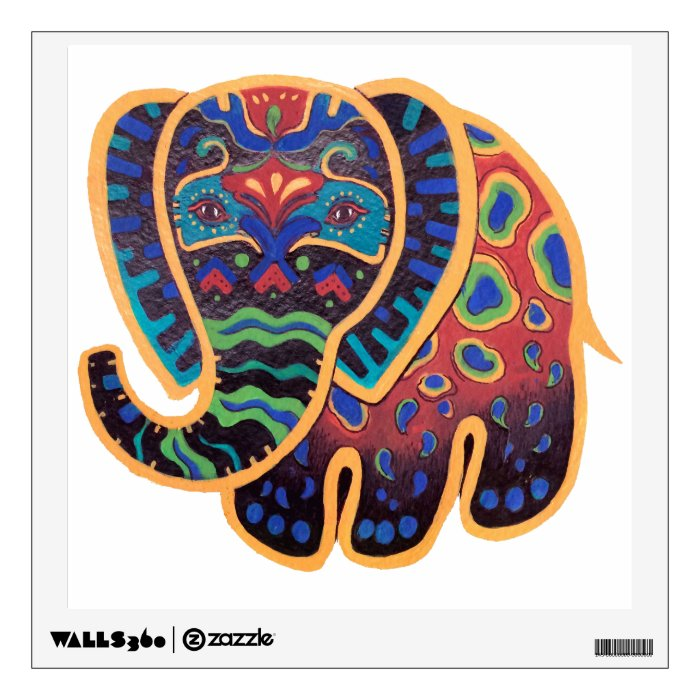 Bold Design Wall Decals : Bright bold elephant design wall decal zazzle