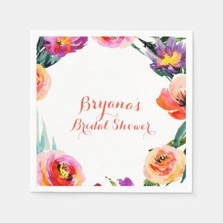 Bright Bold Floral Wreath Watercolor Bridal Shower Napkin
