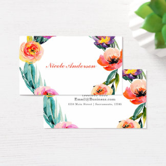 Bright Bold Floral Wreath Watercolor Chic Flowers Business Card