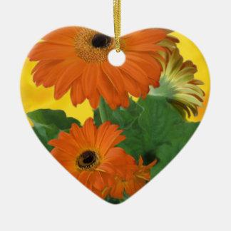 Bright, Bold Gerbera Dasies Ceramic Ornament