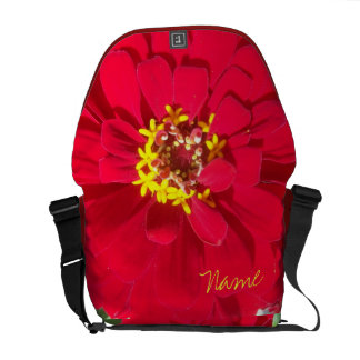 Bright Bold Macro RED Zinnia Rickshaw Messenger Bag