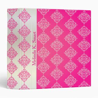 Bright Bold Pink and White Damask Binder