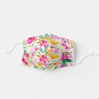 Bright bold pink summer floral watercolor cloth face mask