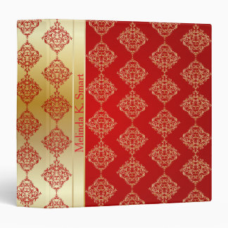 Bright Bold Red and Gold Damask 3 Ring Binder