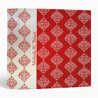 Bright Bold Red & Satin White Damask | Personalize Binder