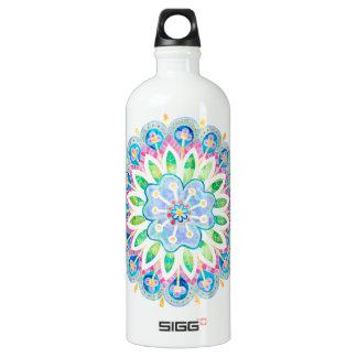Bright Bold Watercolor Flower Geometric Mandala SIGG Traveler 1.0L Water Bottle