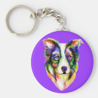 Bright Border Collie Key Chains