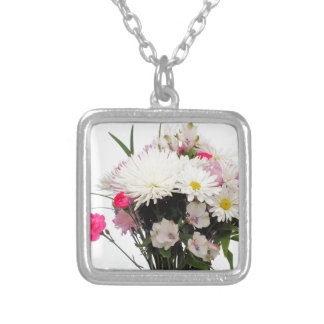 Bright Bouquet of Flowers with Leaves on White Silver Plated Necklace
