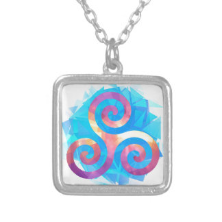 Bright breton triskel silver plated necklace