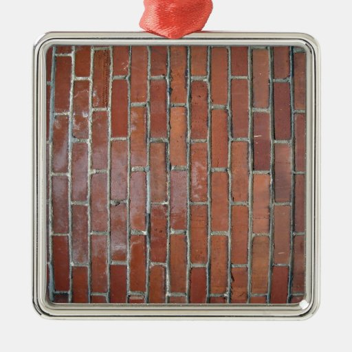 Bright Brick Wall With Variation Square Metal Christmas Ornament