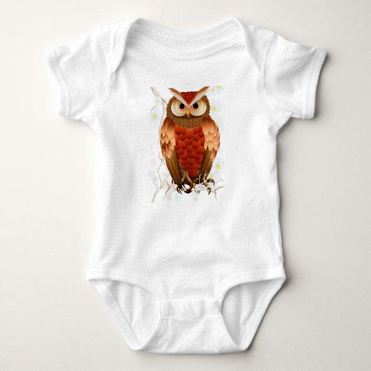 Bright Brown Owl-White Blooms baby Baby Bodysuit