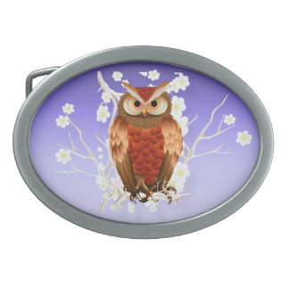 Bright Brown Owl-White Blooms Belt Buckle