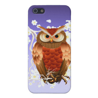 Bright Brown Owl-White Blooms Case For iPhone SE/5/5s
