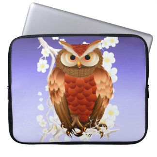 Bright Brown Owl-White Blooms  Electronics Bag Computer Sleeve