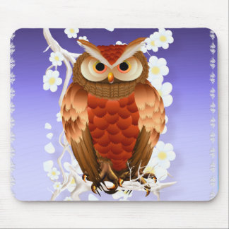 Bright Brown Owl-White Blooms Mousepad