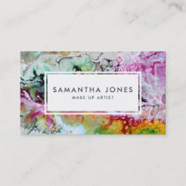 Bright Brush Strokes Modern Make Up Artist Business Card
